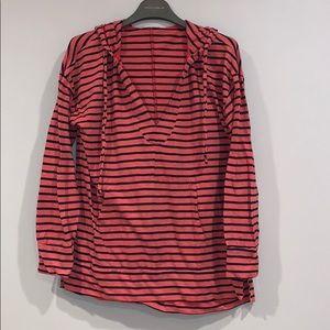 Allen Allen striped cotton hoodie
